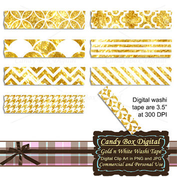 Gold and White Digital Washi Tape, white and gold digital washi tape, gold washi, white washi, elegant washi  - Commercial Use OK