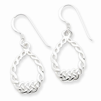 Sterling Silver Open Oval Celtic Dangle Earrings