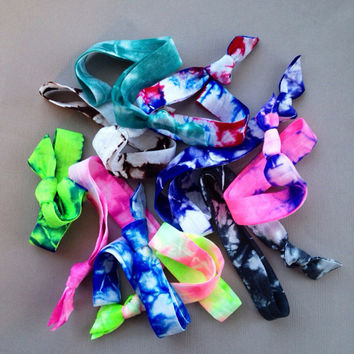 10 Tie Dye Elastic Headbands by Elastic Hair Bandz on Etsy