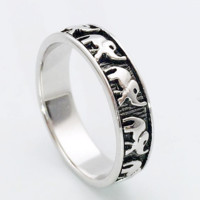 925 Sterling Silver Polished And Antiqued Elephant Ring