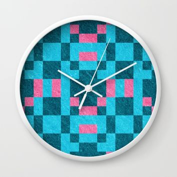 Teal Pink Pixel Pattern Wall Clock by Likelikes | Society6