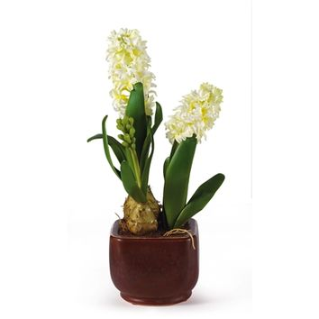 SheilaShrubs.com: White Hyacinth w/Glazed Pot Silk Flower Arrangement 4700-WH by Nearly Natural : Artificial Flowers & Plants