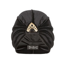 Black Velvet Turban with Triangle and Stone Detail