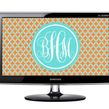 Monogram Desktop Wallpaper: Tiffany Blue, Orange and White Quatrefoil