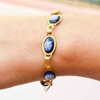 piesas bracelet with blue flowers Vintage