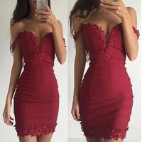 New Women Patchwork Lace Backless Party Clubwear Bodycon Mini Dress