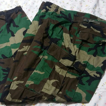 Woodland Camo Camoflage 6 Pocket Tactical BDU 2x XX 2XL Xxl Pants 100% Cotton Ripstop Trousers Army Fatigue