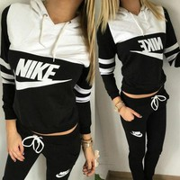 NIKE Women Pantsuit splicing letter printing hooded fashion suit pullover Two piece Hight Quality