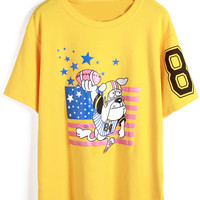 Cartoon Charcter Print Loose Fitting Yellow T-Shirt