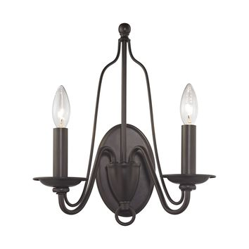 Monroe 2 Light Wall Sconce In Oil Rubbed Bronze