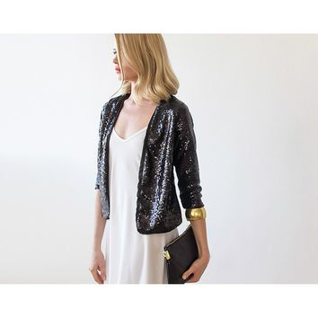 Black Sequin long sleeves sparkling jacket 2014