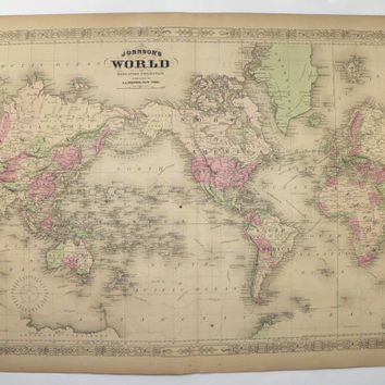 Antique World Map 1867 Johnson Map, World on Mercators Projection, Vintage Art Map, Unique Wedding Gift for Couple, Office Decor Wall Map