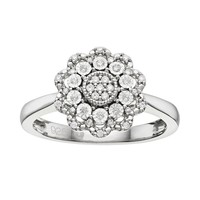 1/6 Carat T.W. Diamond Sterling Silver Flower Ring (White)