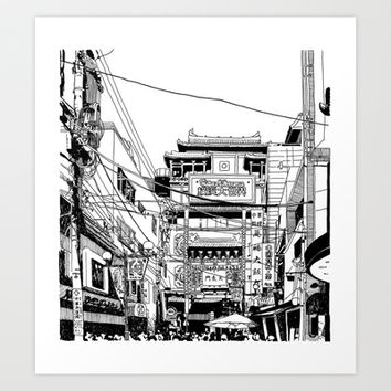 Yokohama - China town Art Print by parisian samurai studio