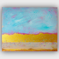 Abstract Painting - Gold Wall Art - Original Gold Abstract Painting on canvas Art 16x20