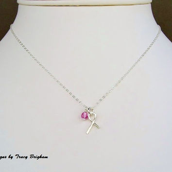 Breast Cancer Awareness Ribbon Necklace Sterling Silver Ribbon Charm Pink Crystal Necklace Charity Donation Awareness Remembrance Gift