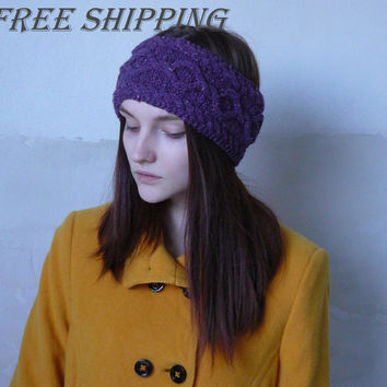 Cable braided knit tweed headband Wool purple ear warmers Fall hair band Spring hairband Knit headwrap Knit fashion accessory Gift for her