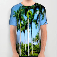 Unisex Palm Tree Digital Print T-Shirt Palm Tree T-Shirt Print T-Shirt Florida Palm Trees Natures Art T-Shirt Nature Lovers T-Shirt Tropical