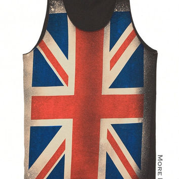 UK Flag Shirt Tank Top Vest Tunic Charcoal Black Tee Singlet Sleeveless Women Clothing Art Indie Punk Rock T-Shirt Size S-M