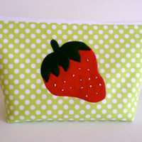 Extra Large Applique Cosmetic Bag Toiletry Bag Travel Bag Makeup Bag in Strawberry