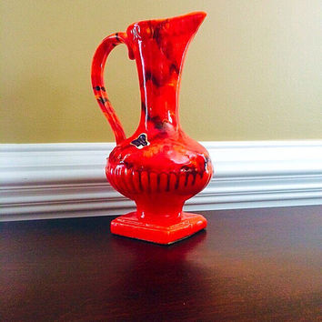 Drip Glazed Pottery Ewer, Orange Red Ewer Pitcher California Pottery, Vintage Home Decor