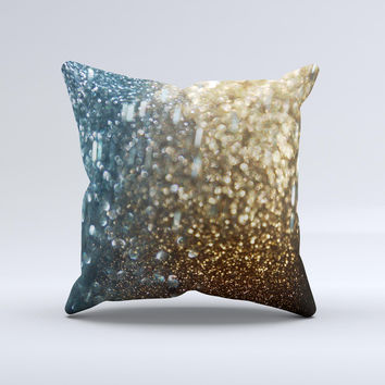 The Teal and Gold Grungy Orbs of Light ink-Fuzed Decorative Throw Pillow