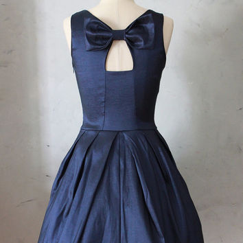 JUBILEE NAVY - Shimmery taffeta party dress with black tulle // back bow cutout // bridesmaid // vintage inspired / pleated skirt // pockets