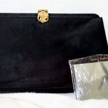 Black Satin Vintage Coblentz Clutch Purse Gold Color Clasp & Mirror Small