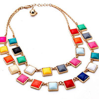 Candy Squares Statement Necklace