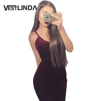 Sexy bodycon spaghetti strap club midi velvet dress Women tight red velour eveving party dresses elegant robe femme vestidos