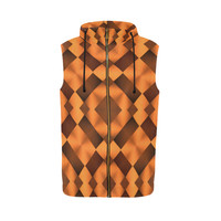 Geometric Pattern in Warm Tones All Over Print Sleeveless Zip Up Hoodie for Men (Model H16) | ID: D2369331