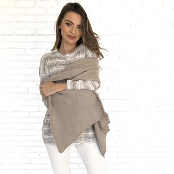 Casual Day Taupe Knit Scarf