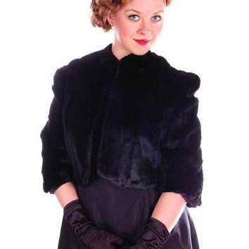 Vintage Black Sheared Rabbit Fur Short Jacket 1930's Velvety Soft Small