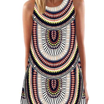 Dashiki Tribal Print Geometric Pattern Short Loose Mini Dress Summer Girl Women Dress Girl Dress High Quality 2016 Lady