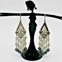 Unique Silver and Fresh Water Pearl Earrings - Vintage pre-1993 - Oxidized Silver - Light and Dark Green Pearls - Deco Cascading V Design