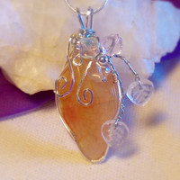Wire Wrapped Yellow and Orange Dragons Vein Agate Whmsy Fairy Pendant Necklace