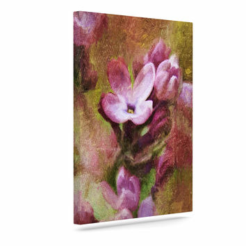 """Ginkelmier """"Lilacs In Yellow"""" Pink Floral Canvas Art"""