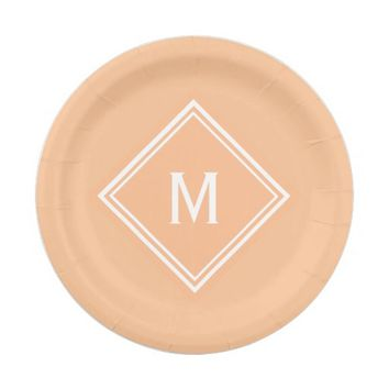 Modern Stylish Creamsicle Orange Custom Monogram Paper Plate