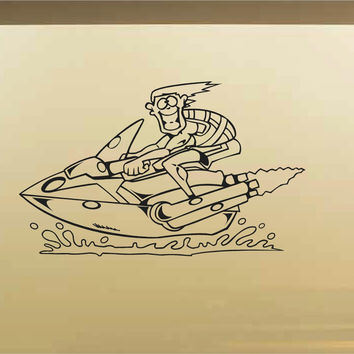 Jet Ski Car Wall Decal - Auto Wall Mural - Vinyl Stickers - Boys Room Decor