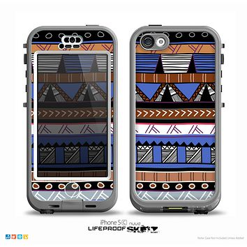 The Abstract Blue and Brown Shaped Aztec Skin for the iPhone 5c nüüd LifeProof Case