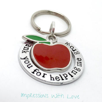 Teacher gift, hand stamped, thank you for helping me grow, apple charm, keyring / keychain, thank you teacher