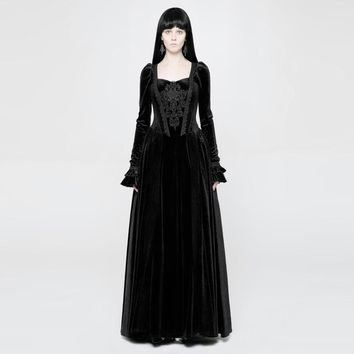 Women's Goth Velour Long Gown - Punk Design