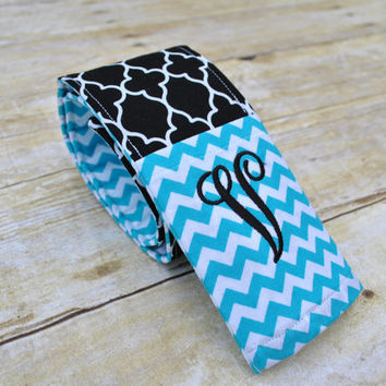 Monogrammed camera strap cover (Teal chevron/black quatrefoil)