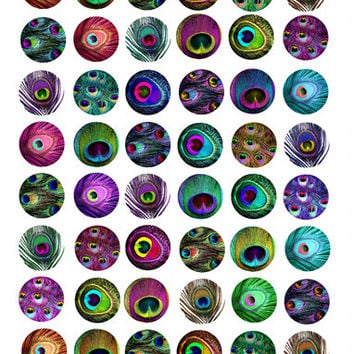 peacock feather 1 inch and 20mm circles clip art collage sheet digital download graphics printables