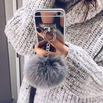 Perfect Popular Fur Ball Chain Mirror iPhone 6 6s 6Plus 6sPlus 7 7 Plus Phone Cover Case
