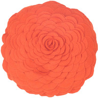 "Applique Piecing and Cut-Out Orange Pillow Filled (14"" Round)"