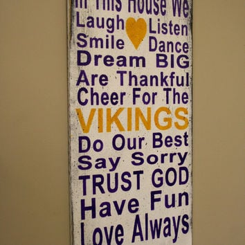 Family Rules Sign Vikings Team Sign Family Name Sign Distressed Wood Sign Rustic Chic Wall Decor Wood Wall Art Home Decor Handmade Sign