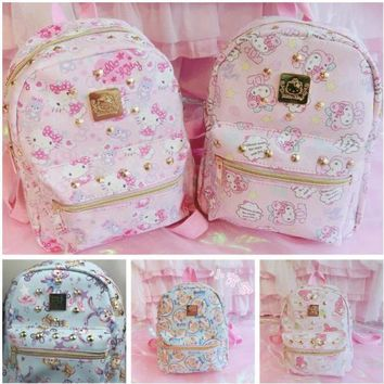 Cute Cartoon Pink My Melody Hello Kitty Duffy Stellalou Backpacks Girls Small Bags Children Schoolbag Kids Gifts Good Quality