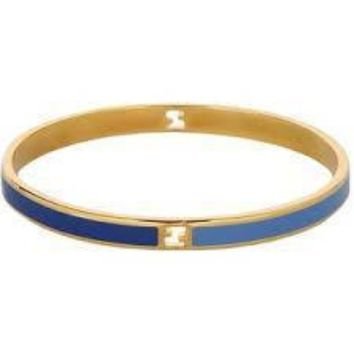 Fendi Women's FF Logo Blue and Navy Gold Bracelet 8AG132