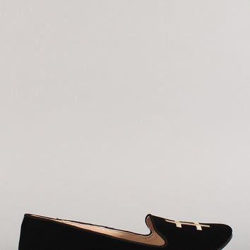 Qupid Nubuck Hashtag Crown Loafer Flat
